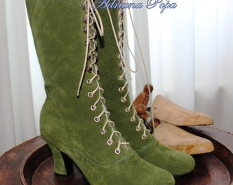 Victorian Boots , Khaki Victorian Booties , Olive Victorian boots , Edwardian Booties , suede Khaki leather Boots , Ankle lace up boots