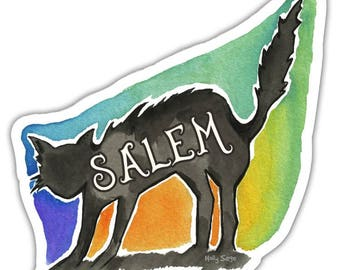 Laptop Stickers, Vinyl Stickers, Waterproof Stickers, Salem Sticker, Cat Sticker, Haunted Art, Witchy Sticker, Goddess Sticker, Black Cat
