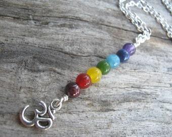 Om 7 Chakra Necklace, Chakra Rainbow Pendant, Buddhist Necklace, Aum Jewelry, Yoga Inspired, Minimalist Y Necklace, Choose Length