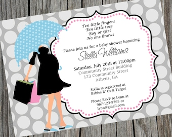 Baby Shower Invitation Gender Neutral Baby Shower Invite Umbrella Mom Shower Invitation Pink and Blue Invite Baby Sprinkle Gender Reveal