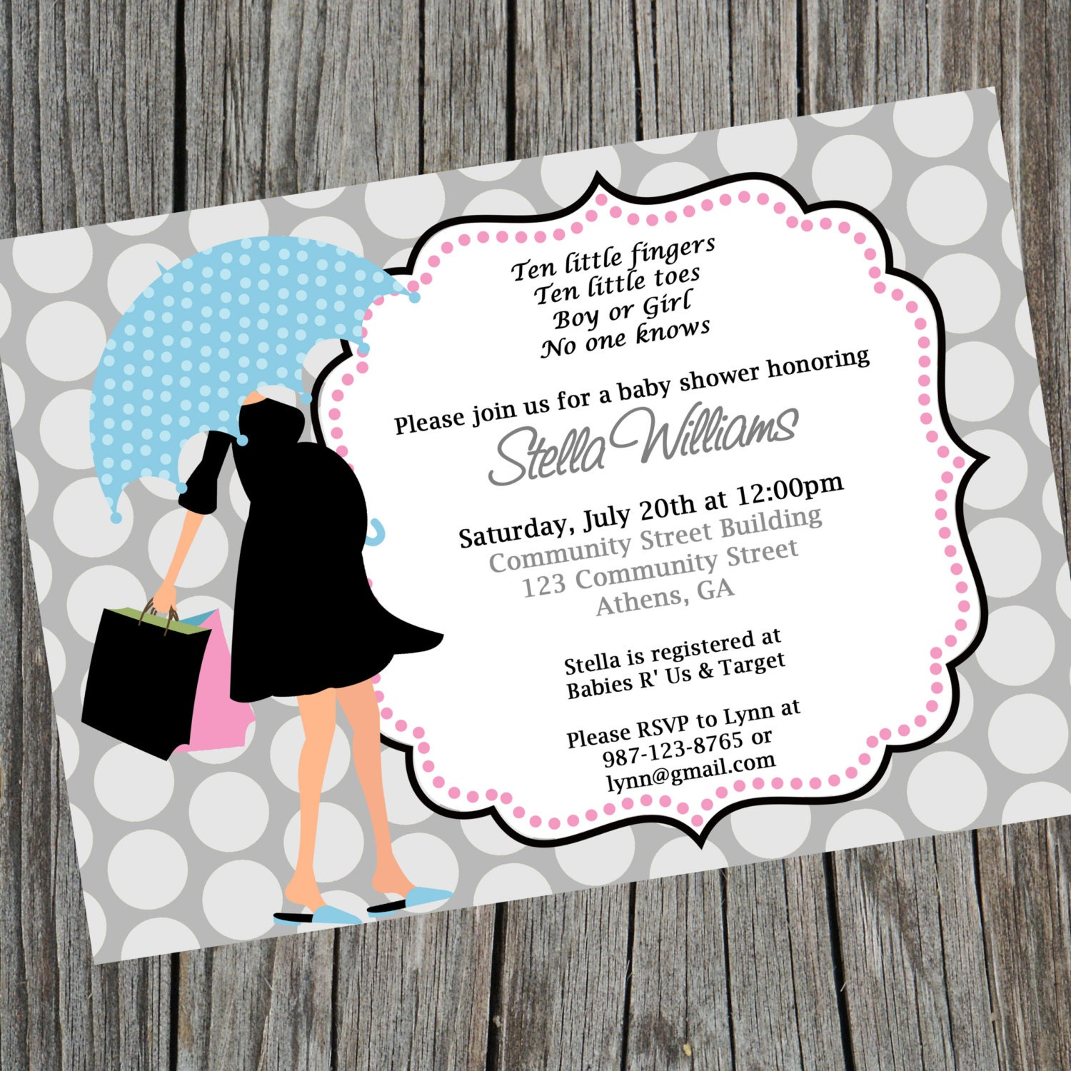Printable Modern Mom Baby Shower Invitation. Gender Neutral