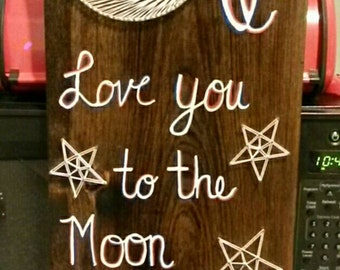 I love you to the moon and back nail string art sign