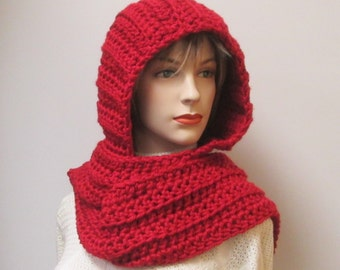 Brick Red/Orange Long Scarf with Hood, Red Hat, Hooded Scarves, Womans Hooded Scarf, Warm Crochet Scarf, Elizabeth B5-044