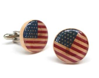 American Flag Cufflinks • USA Flag cufflinks • Wood cufflinks • 5th anniversary gift • wooden anniversary