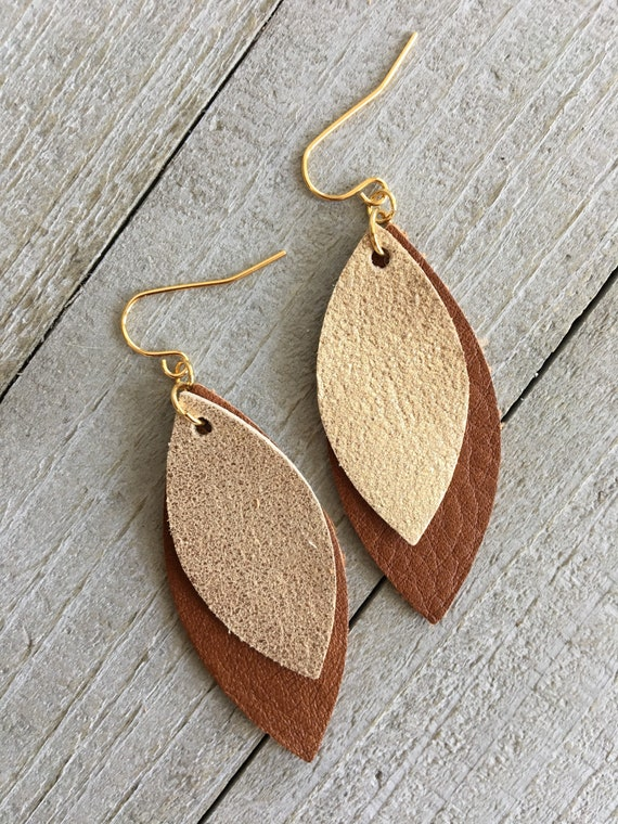 Gold Leather Earrings - Brown and Gold Leaf Earrings - Lightweight Dangle Statement Earrings for Her