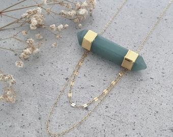 CHILE Boho Bar Necklace   Multistrand   Aventurine   Jade Green   Gold Necklace   Fine Jewelry   Standing O   Boho Jewelry