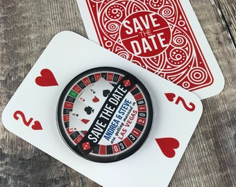 Wedding Save The Date Magnets - Las Vegas/ Roulette Wheel Design Complete With Mini Playing Card Backing Cards