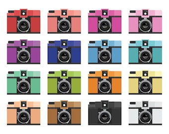 Camera Clip Art Set | Photography Lomo Film Vintage Retro Graphic Art | Digital Illustration Stock Icons | Personal or Commercial Use