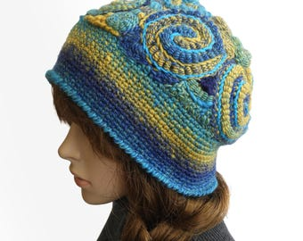 Crochet Beanie, Freeform Crochet Beanie Hat Beret OOAK Freeform Crochet in Blue & Yellow Rainbow colours