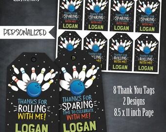 Bowling Thank You Tags, Bowling Favors, Bowling Tags, Bowling Birthday, Bowling Party, 10 Pins, Neutral, Personalized, Printables, Digital