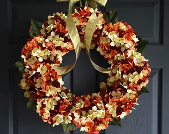 Autumn Blended Hydrangea Wreath | Fall Wreath | Fall Decor | Front Door Wreaths | Fall Wreaths | Housewarming Gift ideas