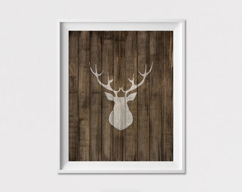 Deer art print, poster, Deer Wall Art, Deer Antlers, wall decor, Home decor, Woodlands Decor, Wall prints, digital prints, ArtFilesVicky