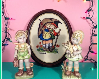 """Hummel """"Stormy Weather"""" Embroidered Wall Art and Cute Country Children Figurines"""