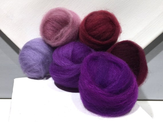 "Purple roving sampler, Felting wool kit, ""The Colors Purple"" lavender, purple, violet, wine, merlot, wool roving kit, blending fibers"