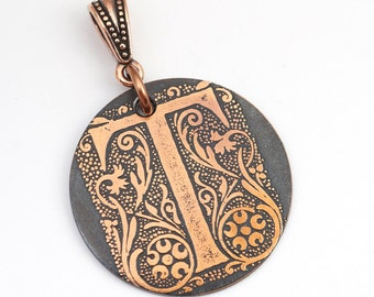 T pendant with leaves and flowers, round flat antiqued metal monogram jewelry, optional necklace, 28mm