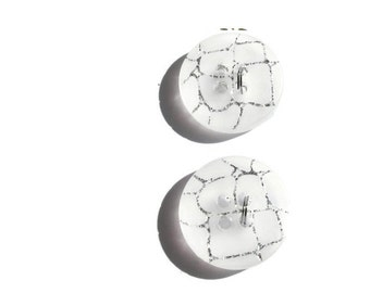 White and Silver Cracked Buttons... Set of 2