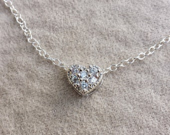 Diamond heart necklace crystal pendant cz pave cubic zirconia gift for her diamond heart pendant floating heart pave cz necklace 14k gold filled of sterling silver cubic zirconia dainty small layering aloadofball Images