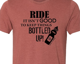 Bicycle T-shirt-BOTTLED UP-punny Bike T-Shirt-Grey,green,clay,Bicycle t-Shirt,Cycling tshirt,bike gift,gifts for cyclists,Bike tee,for him