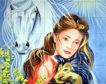 Portuguese Hand Painted Ceramic Woman and Animals Tile Panel Azulejos Tiles,  Backsplash tiles, Decorative tiles, Indoor or outdoor mural