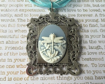 Dragonfly Cameo Necklace - White on Blue Dragonfly Rising Out of a Lotus On a Matching Blue Organza Necklace