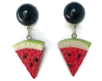 Watermelon Fruit Slice Earrings - Retro Fruity - Plastic Dangle Earrings - Handmade in USA - Women's, Rockabilly, Pinup Jewelry