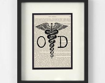 Optometrist - OD over Vintage Medical Book Page - Optometrist Gift, Optometry Gift, Optician, Eye Doctor, Optometry Wall Art