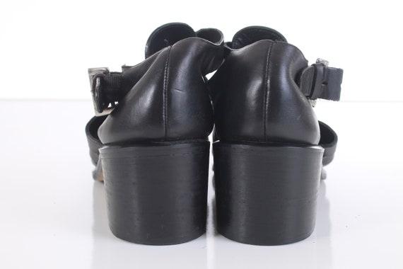 Spiga Cage Via Black Heel US UK Sandals Women's in EUR38 Fisherman Leather 90's Size 39 Sandal Made Vintage 8 6 Italy Block wBI4tq