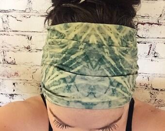 Tie Dye - Emerald Green & Lemon/Lime - Eco Friendly Yoga Headband