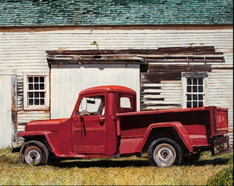 1948 Red Truck, Archival Print from original oil painting