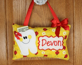 Personalized girls tooth fairy pillow ladybug pattern on yellow, optional tooth chart available