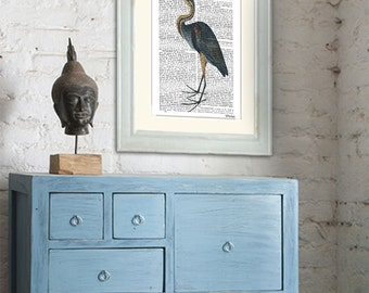 Blue Heron Print 3, bird illustration blue heron picture, heron artwork, heron decor bedroom decor heron illustration heron painting