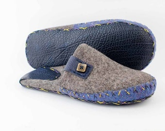 Wool house felted slippers for mens | Home shoes