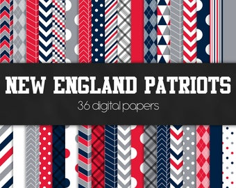 New England Patriots Digital Paper Pack - INSTANT DOWNLOAD
