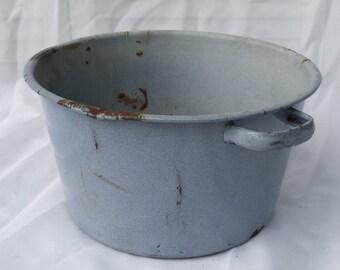 Vintage Blue Enamel Pot Flower Planter