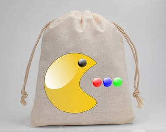 Pacman, Birthday Party, Party Bags, Muslin Bags, Candy Bags, Treat Bags, Favor Bags, Goodie Bags, Gift Bags, Drawstring Bags