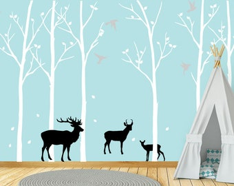 Winter Trees Wall Decals, Flying Birds Decal, Nursery Decor, Deer Wall Decal, Forest Wall Decal, Kids Room Decor, Nursery Wall Decals, ID713