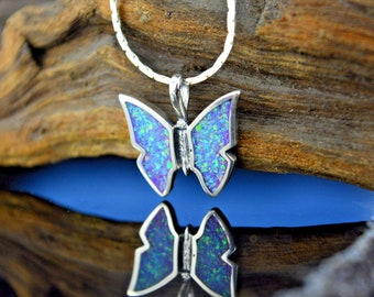 Sterling silver Butterfly pendant w/ inlaid crushed pieces of Lavender Fire Opal