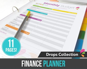 Finance Planner - Finance Binder - 11 pages in PDF format ready to print at home! - Household Finances - Money Management