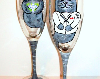 Navy Uniform Grey Seals Hand Painted Champagne Flutes for Wedding, Anniversary, Set of 2 / 6 Champagne Flutes Bride & Groom Toasting Flutes