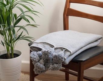 Grey and Silver Moroccan Pom Pom Bohemian Blanket