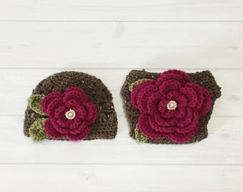 Ready Ship! Newborn-3M Baby Girl Photo Prop Handmade Crochet Flower Beanie & Diaper Cover Set