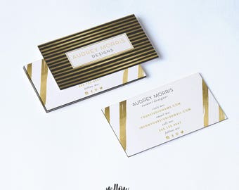Stripe business card etsy business card template photoshop template calling card rose gold card gold card reheart Image collections