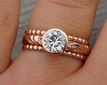 Moissanite and Recycled 14k Rose Gold Stacked Engagment Ring and Patterned Stackable Wedding Band Set - Diamond Alternative - Made to Order
