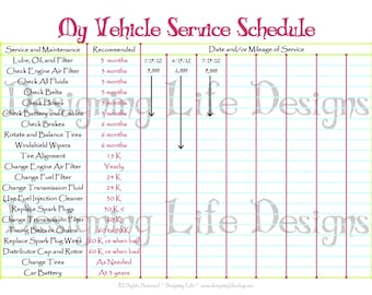 Car Schedule Printable - Editable Service Log - Home Binder