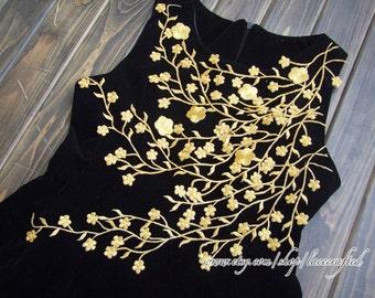 Gold Silvery Leaf Vines Applique Patch Trim  Plum Blossom Flower Applique- Iron on Applique