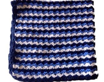 blue, navy blue, white striped stroller blanket,  car seat blanket, travel blanket, crochet baby blanket for baby boy