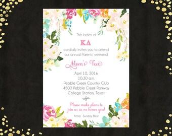 Qty. 25 Floral Tea Brunch Invitation on Shimmer Paper Spring Floral Invitation Floral Bridal Shower Invitation Shimmer