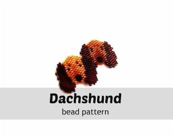 Seed Bead Brick Stitch Dachshund Pattern, Miyuki Delica Beading