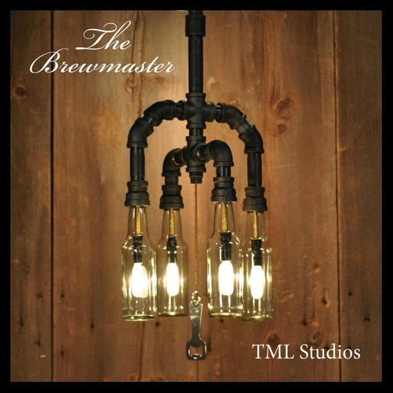 The brewmaster repurposed beer or wine bottle chandelier for How to make your own wine bottle chandelier