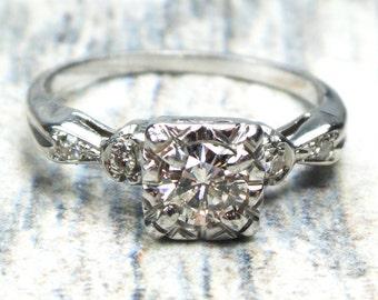 Vintage Diamond Engagement Ring 18k White Gold Diamond Ring Approx .40 CT Round Diamond Engagement Circa 1950 Vintage Engagement Ring